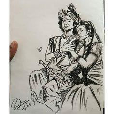 Radha Krishna Sketch, Krishna Drawing, Krishna Painting, Krishna Art, Lord Krishna, Realistic Pencil Drawings, Pencil Art Drawings, Art Drawings Sketches, Pencil Art Love
