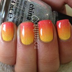 Tequila Sunrise Ombre nails