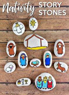 Nativity story stones help to keep Christ at the center of Christmas - use them as story props or as a simple nativity scene, or even as a gift. Christmas Rock, Christmas Nativity, A Christmas Story, Kids Christmas, Christmas Crafts, Christmas Decorations, Christmas Printables, Christmas Bells, Simple Nativity