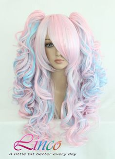 For when i quit nursing and become anime hooker. 70cm-55cm-Long-Multi-Color-Beautiful-lolita-wig-Anime-Wig Lady gaga style pony tails wigs big wavy hair