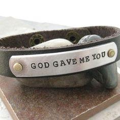 God Gave Me You Leather Cuff Bracelet 1/2 inch by riskybeads, $22.95