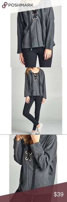 LACE UP FRENCH TERRY HOODIE TOP LONG DOLMAN SLEEVE LACE-UP FRENCH TERRY PULLOVER HOODIE TOP . 65% POLYESTER 35% COTTON. NEW . Tops