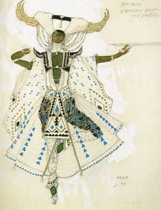 "Bakst : costume design for ""Le Dieu bleu"", Ballets russes, 1911"