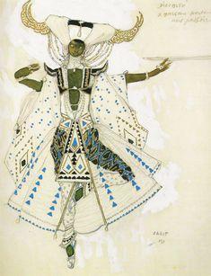 """Bakst : costume design for """"Le Dieu bleu"""", Ballets russes, 1911"""