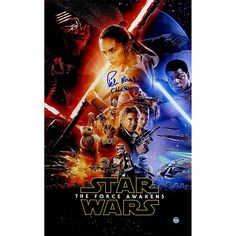 """Peter Mayhew Signed """"Chewbacca"""" Star Wars VII: The Force Awakens 10"""" x 16"""" Full Cast Movie Poster"""