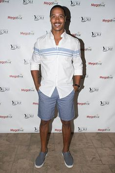 Brian White poses for a photo before the MegaFest Celebrity Golf Tournament at Cowboys Golf Club on August 2015 in Grapevine, Texas. Celebrity News, Poses, Celebrities, Swimwear, Golf, Image, Dresses, Fashion, Figure Poses