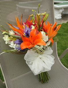 bright bouquet, stargazer lily, white orchid, bird of paradise