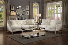 2 pc Nevaun cream airehyde leather sofa and love seat set with tufted backs. This set includes the Sofa and Love seat set . Sofa measures x x H. Love seat measures x x H. Optional accent chair also available separately Living Room Green, Living Room Sets, Living Room Interior, Living Room Furniture, Living Room Designs, Living Room Decor, Leather Living Room Set, French Cottage, Family Room
