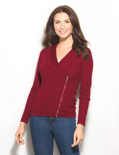 Give your sweater's a break and opt for this edgy cardigan. The zipper detail and asymmetrical collar make for an interesting and new look that we know you'll love. Pair with jeans, add a necklace and you'll be ready for just about anything! Imported.