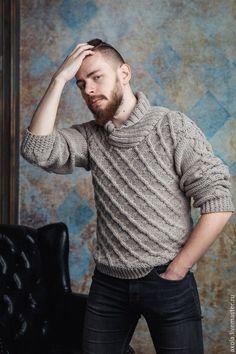 """Купить Свитер """"Ромбы"""" - бежевый, свитер мужской, свитер спицами, свитер вязаный"""