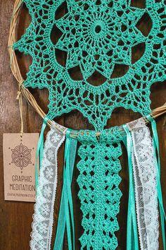 Doily Dreamcatcher 8 Turquoise Crochet Boho by graphicmeditation Crochet Dreamcatcher Pattern, Crochet Mandala Pattern, Doily Patterns, Macrame Patterns, Crochet Doilies, Crochet Patterns, Crochet Doily Diagram, Sun Catchers, Doily Dream Catchers