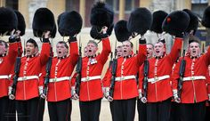 Coldstream Guardsmen give three cheers to Her Majesty the Queen in Windsor Castle.