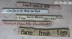 Pallet board signs!  LOVE! On my list of must dos! Thanks to Rusty Pig! Great inspiration :)