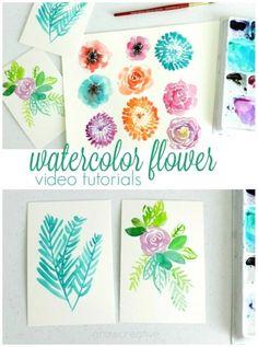 6 watercolor flower video tutorials