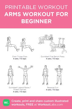 Helpful workout plans that are truly effective for starters, both men and ladies to tone up. Analyze the workout plans for beginners pin-image number 1236919387 today. Effective Ab Workouts, Toning Workouts, Fitness Workouts, Arm Workout For Beginners, Burn Fat Build Muscle, Printable Workouts, Workout Plans, Wod Workout, Workout Women