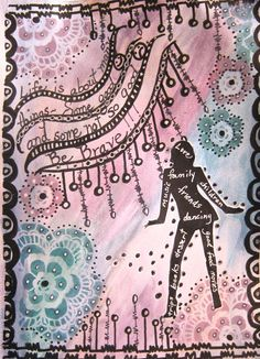 Background colored with water color paints.  I used stencils, template of a women, and gel pens for the page.