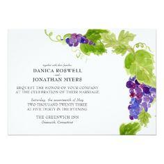 Grapes on the Vine Wine Wedding Invitation - invitations personalize custom special event invitation idea style party card cards
