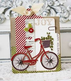 Happy Holidays Bicycle Card by Melissa Phillips for Papertrey Ink (May 2013)