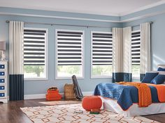 Update the whole room with new Layered Shades from @baliblinds. Pictured shades are from our Marconi collection in Blue Steel color 4645. These shades work well with motorized lift and Back Tab Drapery. #LayeredShades #Bedroom