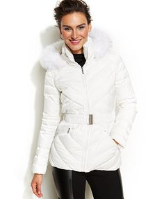 Laundry by Shelli Segal Faux-Fur-Hooded Quilted Down Puffer Coat