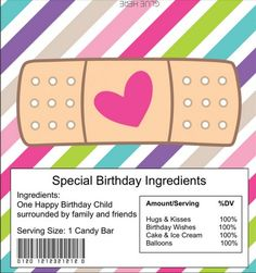 Printable Band Aid Candy Bar Wrapper
