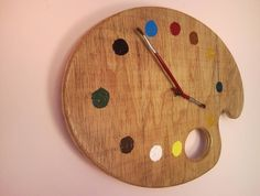 art clock | Painter palette artistic wall clock with red brush clock hands