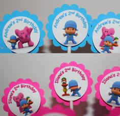 Personalized POCOYO Cupcake Party Toppers Picks - Custom