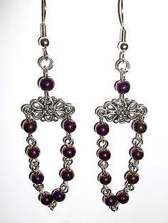 Purple-chandelier-earrings-handmade-hypo-allergenic-ear-wires
