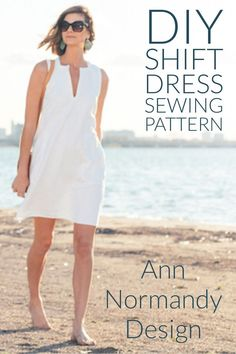 Shift Dress PDF sewing pattern. Classic A-line dress cut just above the knee. Square and v neck. Designed with flat felled seams to neatly encase raw seam edges and give weight and stability to the garment for the perfect drape. Two pockets. #sewingpatter