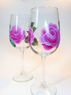 Set of 2 Hand painted 16oz. Pink Roses Wine glasses.  Perfect for your favourite wine.  Great for Mother's Day, Birthdays, Teacher's gifts