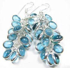 blue stone sliver earrings