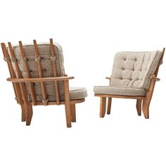 Guillerme et Chambron Pair of Lounge Chairs with Beige Upholstery High Back Chairs, Side Chairs, Lounge Chairs, Blue Loveseat, Solid Oak Furniture, Chair Fabric, Outdoor Chairs, Love Seat, Upholstery