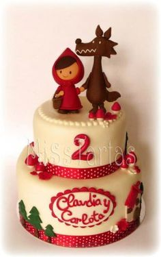 Little Red Riding Hood Cake Red Riding Hood Costume Kids, Red Riding Hood Party, Fondant Cakes, Cupcake Cakes, Dora Cake, Funny Cake, My Birthday Cake, Character Cakes, Pretty Cakes