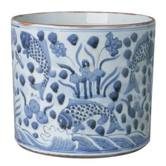 "Blue and White Round Fish Vase/Planter - Hand-Painted Porcelain Material: PORCELAIN Dimensions: 7 1/4"" H x 8 1/4"" Dia   Please allow 1-2 weeks to ship out and r"