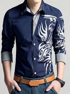 Men's Floral Shirt Basic Long Sleeve Daily Slim Tops Standing Collar White Black Wine / Spring / Work 2021 - Can $34.14 Slim Fit Casual Shirts, Casual Tops, Men Casual, Cheap Mens Shirts, Mens Shirts Online, Long Sleeve Shirt Dress, Long Sleeve Shirts, Dress Shirts, Sleeved Dress