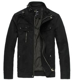 Amazon.com: Wantdo Men's Cotton Stand Collar Lightweight Front Zip Jacket US Small Black: Clothing