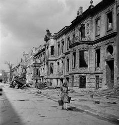 Bombed out buildings in Berlin caused by Allied bombardment during WWII. Photograph by William Vandivert. Berlin, Germany, July 1945.