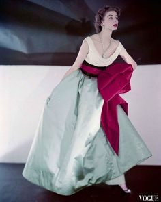 Suzy Parker in Jacques Fath gown 1952 by Horst P Horst for Vogue