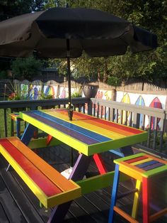 Style Porch With Color Pallet 10 Painted Picnic Tables, Kids Picnic Table, Patio Table, Outdoor Fun, Outdoor Spaces, Outdoor Living, Outdoor Decor, Backyard Playground, Playground Ideas