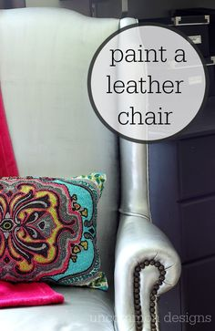 Home Interior Living Room How to paint a leather chair with a few bottles of craft paint. This metallic silver chair was a cinch to do! Leather Furniture, Paint Furniture, Furniture Makeover, Leather Chairs, Chair Makeover, Design Loft, Simple Furniture, Furniture Ideas, Painting Leather