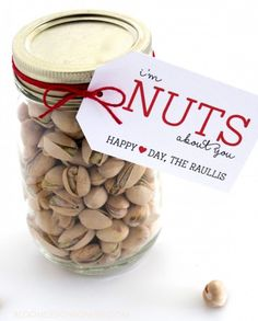 For the Valentine who is not into sweets and leans toward healthier treats, create a jar with their favorite nuts and a cute message. Click here for the downloadable gift card and other great ideas.