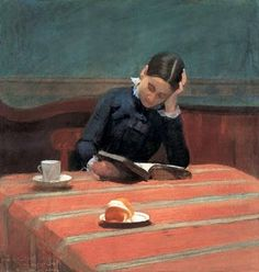 CMS Reading by Gaslight (1884). William Stott-of-Oldham (British, 1857–1900). Stott studied under Gérôme, exhibiting regularly at the Paris Salon. He was a close friend of the painter Whistler, until...