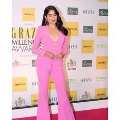 Janhvi Kapoor Rocks A Pink Button Down Pant Suit Like A Boss At Grazia Millennial Awards 2019 - HungryBoo Indian Heroine, Lakme Fashion Week, Beautiful Bollywood Actress, Pink Pants, Online Shopping Sites, Bollywood Stars, Fashion Wear, Womens Fashion, Lehenga Choli
