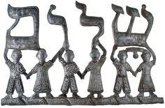 This year's recycled Judaica from Haiti Biblical Hebrew, Hebrew Words, Hanukkah Menorah, Hannukah, Israel, Recycled Metal Art, Jewish Girl, Judaism, Recycling