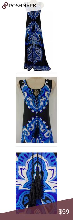 "Size 1X NWT PRINT MAXI DRESS w/ Tassles Plus Size This eye-catching maxi dress is sexy, trendy, and fashionable!   Size: 1X Slip on/ slip off Tassle-tie at neckline Maxi length Stunning print in shades of blue, black, & white Buttery-soft fabric Measurements: Bust (armpit to armpit):  42"" relaxed - stretches to 53"" Waist: 40"" relaxed - stretches to 48"" Hips:  43"" relaxed Length: 55.5"" (top of shoulder to bottom hem)  Condition:  BRAND NEW WITH TAGS! Fabric Content: 95% Polyester  5% Spandex…"