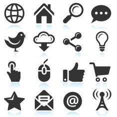 Internet Computer royalty-free vector arts black & white icon set vector art illustration