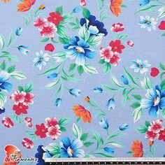 Tejido de algodón estampado de flores color azul Color Azul, Floral, Quilts, Blanket, Diy, Printed Cotton, Dressmaking, How To Sew, Cotton Canvas