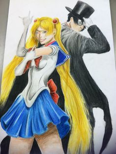 (VERY OLD) Sailor Moon and Tuxedo Mask, drawn for art class See my Deviantart page for the link to the original :)