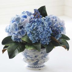 Mixed Hydrangea And Blueberry Chinoiserie (500 BAM) ❤ liked on Polyvore featuring home, home decor, floral decor, artificial arrangement, ceramic pots, hydrangea flower arrangement, ceramic home decor and artificial hydrangea arrangement