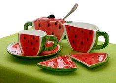red and green watermelon tea set Watermelon Patch, Watermelon Decor, Green Watermelon, Ceramic Painting, Ceramic Art, Cool Mugs, Coffee Set, Ceramic Pottery, Tea Party
